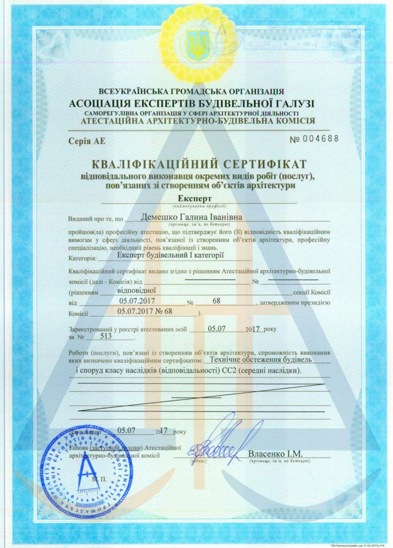 Сертифікат 4  Демешенко В.І. експерт